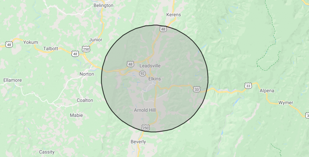 Expanded Delivery Area – 5-Mile Radius of Elkins, WV